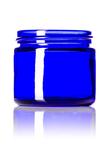 2 Oz Cobalt Blue Glass Straight Sided Round Jar With 53