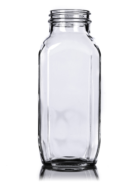 16 Oz Clear Glass French Square Bottle With 48 400 Neck